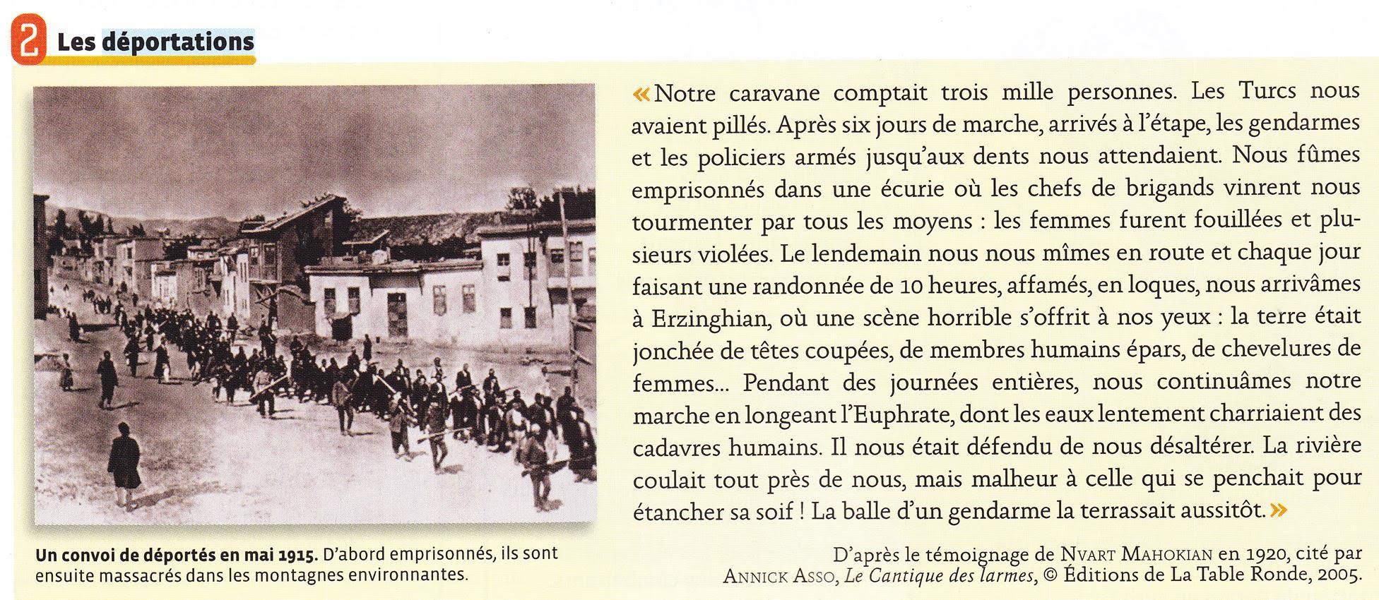 decrire et expliquez le genocide des armeniens